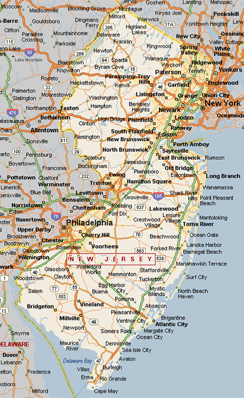 Simple Map Of New Jersey Towns Swimnovacom - New jersey towns map